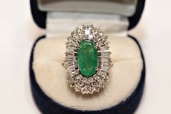 Old Vintage 14k Gold Natural Diamond And Emerald Decorated Vintage Strong Ring