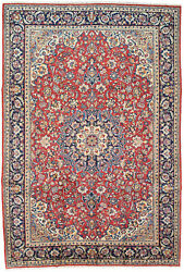 Vintage Oriental Najafabad Rug, 8'x12', Red/blue, Hand-knotted Wool Pile
