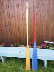 Great Colors Old Set 2 Odd Different Oars 60 + 68 Long Boat Wooden Paddles