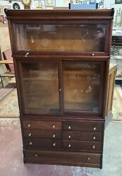 Antique Macey Mahogany Library Stacking Cabinet 7 Drawers Barrister Bookcase