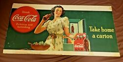 Large Coca Cola Cardboard Advertising Sign. Very Rare 1930's