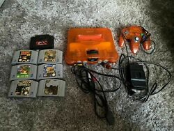 Fire Orange Nintendo 64 Funtastic Console And Matching Oem Controller N64 Tested