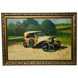 20th Century Oil Painting Classic Car 1913 Rolls Royce Silver Ghost Country Tour