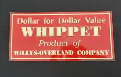 Vintage Whippet By Willys-overland Advertising Embossed Tin Sign