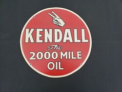 Vintage Kendall 2000 Mile Oil Masonite Sign. Robertson Dualife Double Sided. Ww2