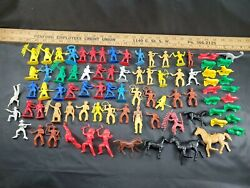 Vintage Large Mixed Lot 80 Pc Cowboys And Indians Plastic Toys Some Mpc And Others
