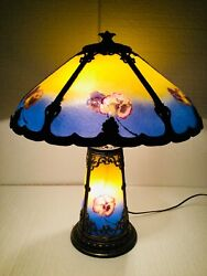 Antique Reverse Painted Lamp Chipped Ice Pansies Flower Light Up Base Pittsburgh