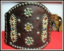 Extremely Rare Antique 5 Wide Lady Bronc Buster Rider Belt Colored Sets And Spots