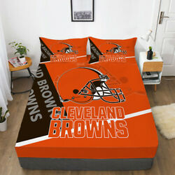 Cleveland Browns Pocket Sheet 3pcs Fitted Sheets And Pillowcase Bedding Sets