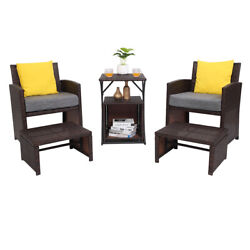 Patio Chat Set 5pc 2 Chairs Ottoman Table Outdoor Garden Furniture Bistro Yellow