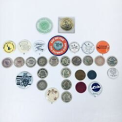 Vintage Lot Of Numismatics Coin Collector Pinbacks Wooden Nickels Mirror Button