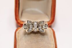 Antique Style New Made 14k Gold Natural Diamond Decorated Knight Sytle Ring