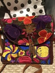 Guatemalan Embroidered Tote Purse Bag Crossbody 10x8 Floral Purse $19.99