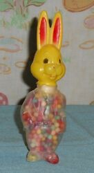 Vintage E. Rosen Easter Plastic Yellow Bunny Rabbit Candy Holder Container
