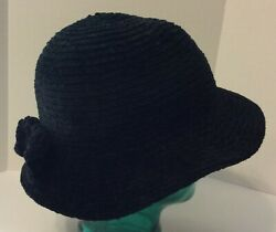 August Women#x27;s Soft Crochet Black Bucket Hat With Bow 22quot; Inside Circumference $11.50