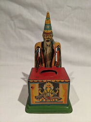 1910-1920's Magie German Tin Mechanical Bank With Wizard Or Magician