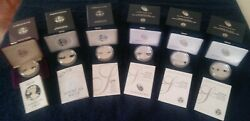 1986s-2020w And S Silver Eagle 10yr Anniversary Proof 6 Coin Collection -see Below