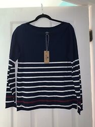Brand New Sperry Long Sleeve Striped Shirt Red White Black Women's Size Large L