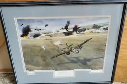 Huge Framed And Matted Nixon Galloway The First Mission July 1942 Print Signed Le