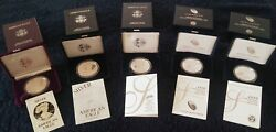 1986s-2020s Silver Eagle 10yr. Anniversary Proof 5 Coin Collection -see Below