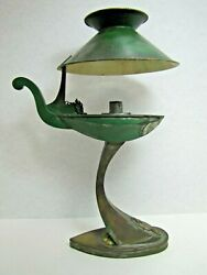 Old Swan Aladdin Style Oil Lamp Light Candlestick Brass Tin Tole Removable Shade