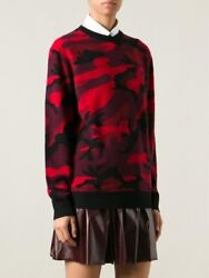 Valentino 1200 Red Camouflage Camo Military Wool Silk Crew Neck Sweater S