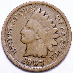 1897 1 In The Neck Indian Head Cent Penny Choice Fine Free Shipping E823 T
