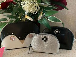 KATE SPADE FROSTY PENGUIN TRIPLE DOME COSMETIC BAG SET OF 3 Super Cute $115.00