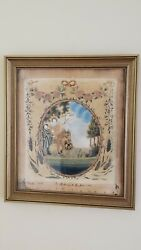 Antique 1807 Signed Embroidered And Painted Silk Picture, South Hadley, Ma
