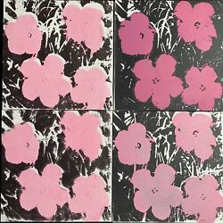 Andy Warhol - Silk-screen On Canvas Of 80's - Flowers Pink Ones