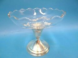 Vintage Used Glass B-1 Sterling Silver Weighted Base Candy Serving Dish Display