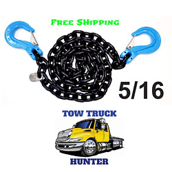 G100 5/16 X10and039 Chain With Slip Hooks. Wrecker Rollback Tow Truck Rotator.