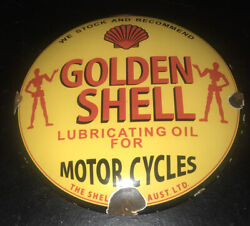 Vintage 1950andrsquos Golden Shell Motorcycle 12andrdquo Porcelain Sign Car Truck Oil Gas