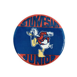 Vintage Stuyvesant Junior School Outstanding Angry Donald Duck Pin Button