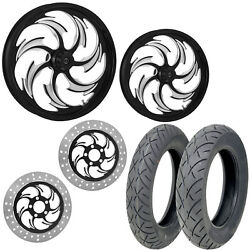 Rc Assault Eclipse 21/18 Front Rear Wheel Package Set Tires Rotors Harley Flht