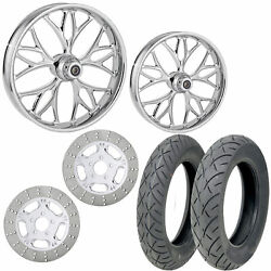 Rc Kore Chrome 21/18 Front Rear Wheel Package Set Tires Rotors Harley Touring