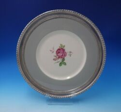 Gadroon By Wallace Sterling Silver Serving Tray Porcelain Center W/ Rose 3124