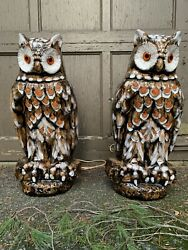 Pair 22 Life-size Great Horned Owl Hand-painted Ceramic Glass Lamps Mcm 1960s