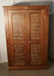 Sign Painted Pitch Pine School Cupboard Sports Equipment Cupboard