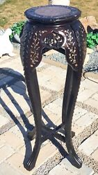 Rare Antique Oriental Carved Wood Plant Stand Abalone Inserts And Marble Top