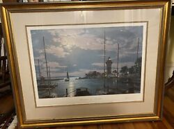 John Stobart Harbourtown By Moonlight Hilton Head Sc 1984 Rare Framed Exc. Cond.