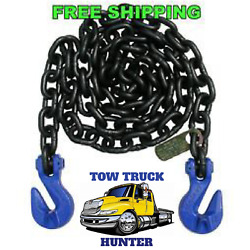 G100 1/2 X 10and039 Chain With Grab And Grab Hooks.wreckerrollbacktow Truckrotator.