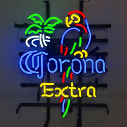 Neon Signs Corona Extra Parrot Beer Bar Pub Store Party Room Wall Decor 19x15