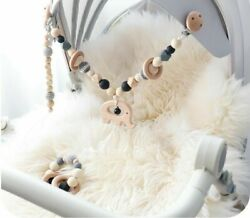 Baby Wooden Beaded Pacifier Holder Clip Nipple Teether Dummy Chain