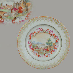 Antique 18c Famille Rose Tea Dish With Peter The Great Meissen Style Qianlong