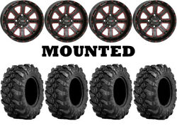 Kit 4 Sedona Buck Snort Tires 27x9-14 On System 3 St-4 Red Wheels Can