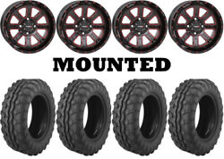 Kit 4 Moose 8-ball Tires 26x9-14/26x11-14 On System 3 St-4 Red Wheels Hp1k