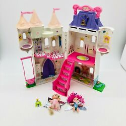 2003 Lanard Fairykins Enchanted Hinged Castle W/swing And W/two Dolls And Frog -rare