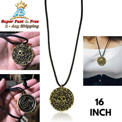 Pirates Necklace Skull Coin Pendant Jack Sparrow Jewelry Costume Men Women Gift