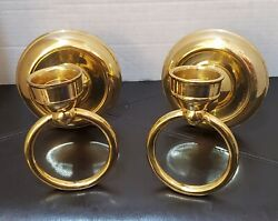 Vintage Brass Candle Holder Sconce Hurricane Lamp Style Ring Wall Hanging India